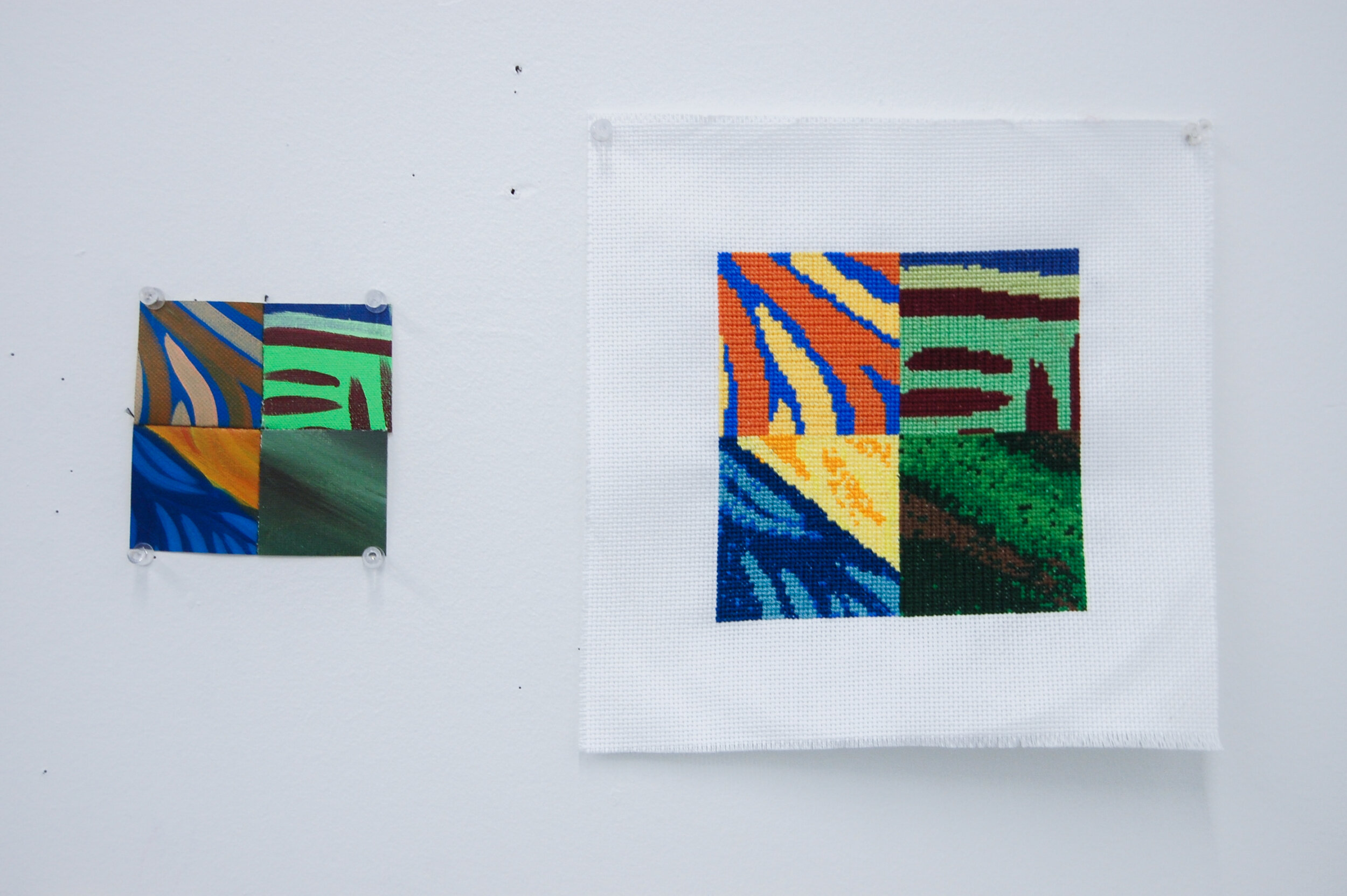 Translation #2 - Paint By Numbers,  2019, acrylic, canvas, embroidery floss, 4 x 4 inches and  Translation #2 - Cross-Stitch , 2019, embroidery floss, Aida cloth, 6 x 6 inches