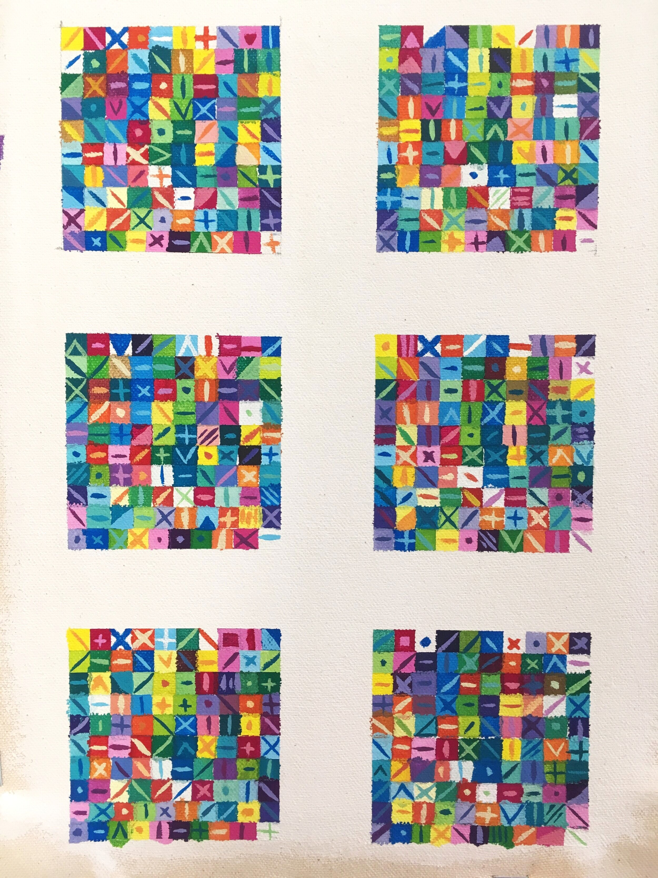 Untitled , 2019, gouache, canvas, 2.5 x 2.5 inches (each square)