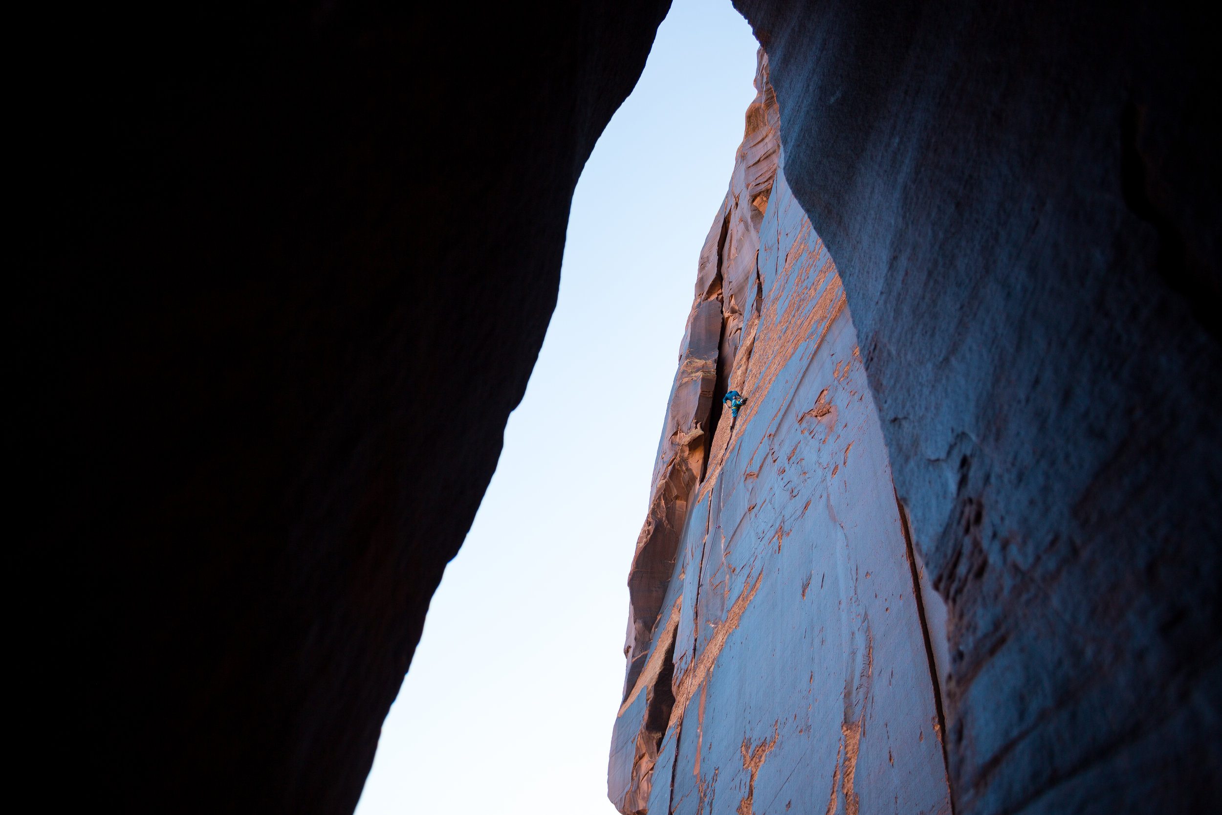 Jack Plantz working up Casey's Route (5.10+) on the Optimator Wall.