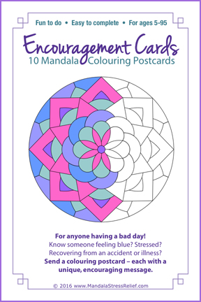 "Encouragement Postcards:  10 unique mandala designs. BONUS: 36 ""Encouragement Phrases"" included!   ($9.99 USD).  Learn more/PRE-ORDER"