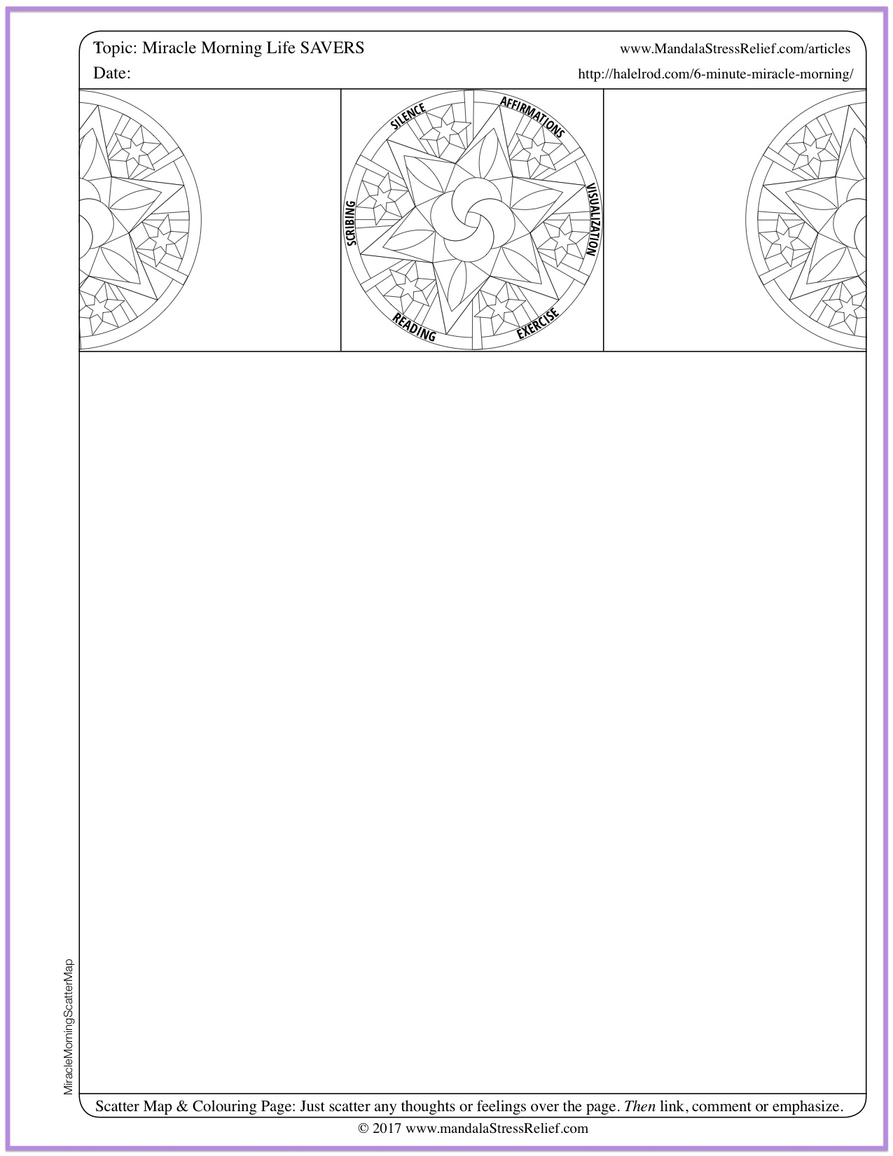 """Download a Miracle Morning """"cheat sheet summary""""  in the form of a Scatter Map & Colouring Page you can use to make for your own notes."""