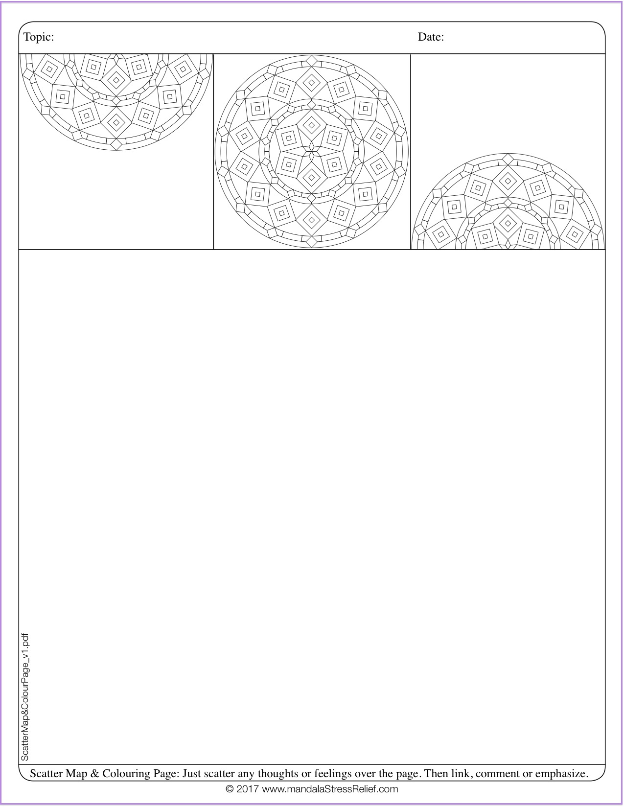 Download a Mandala Colour-Journalling Page  (for scatter-mapping or any other type of journalling).