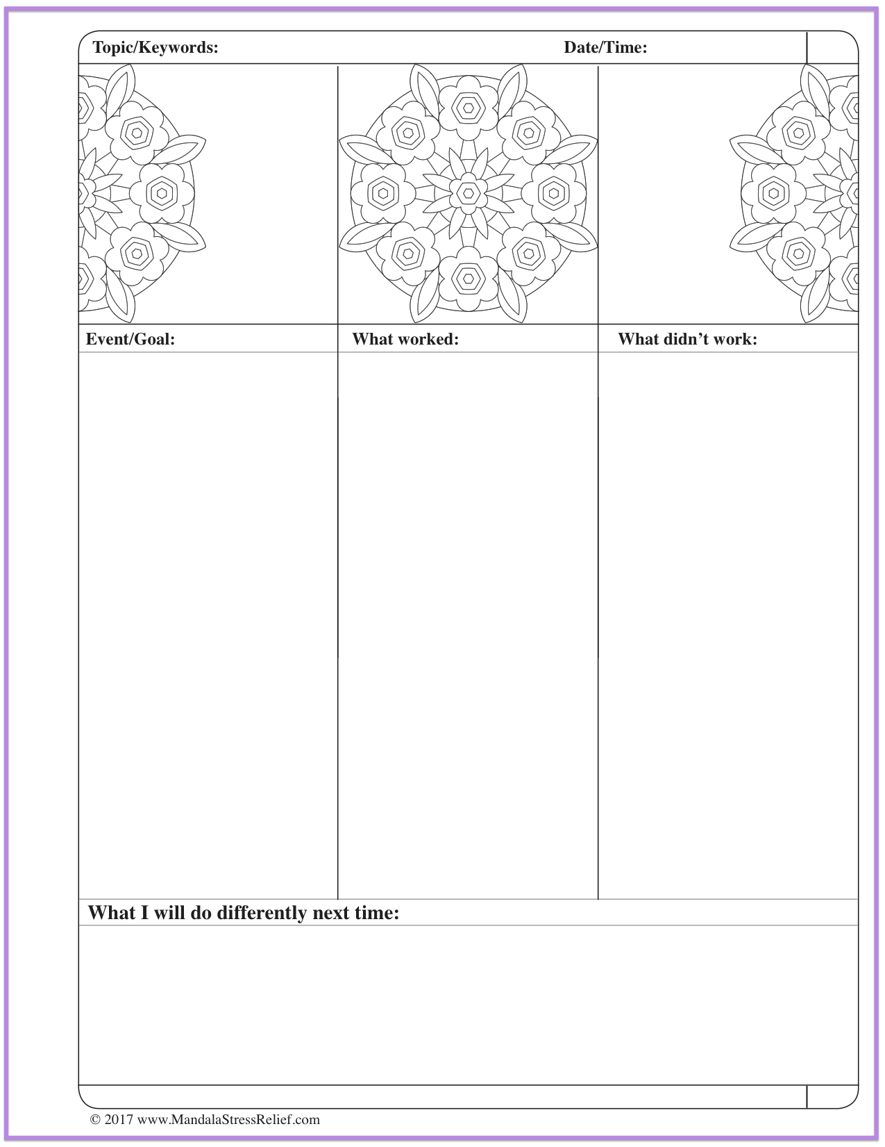 Download the Mandala Colour-Journalling Review/Preview Page.
