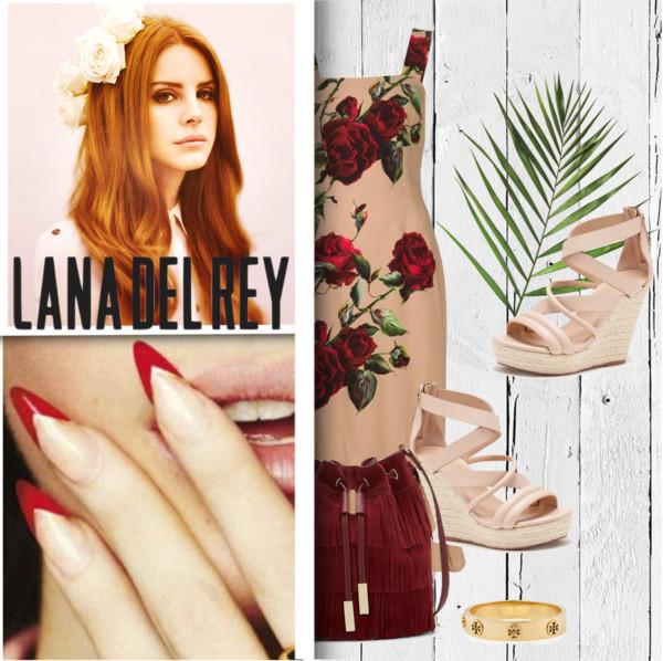 Dolce and Gabbana floral dress, Joe's Jeans wedge sandals, Vince Camuto fringe purse, Tory Burch bangle bracelet