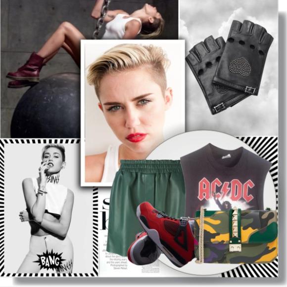 Vintage black shirt / Acne Studios shorts / NIKE red shoes / Valentino leather handbag / Valentino leather glove