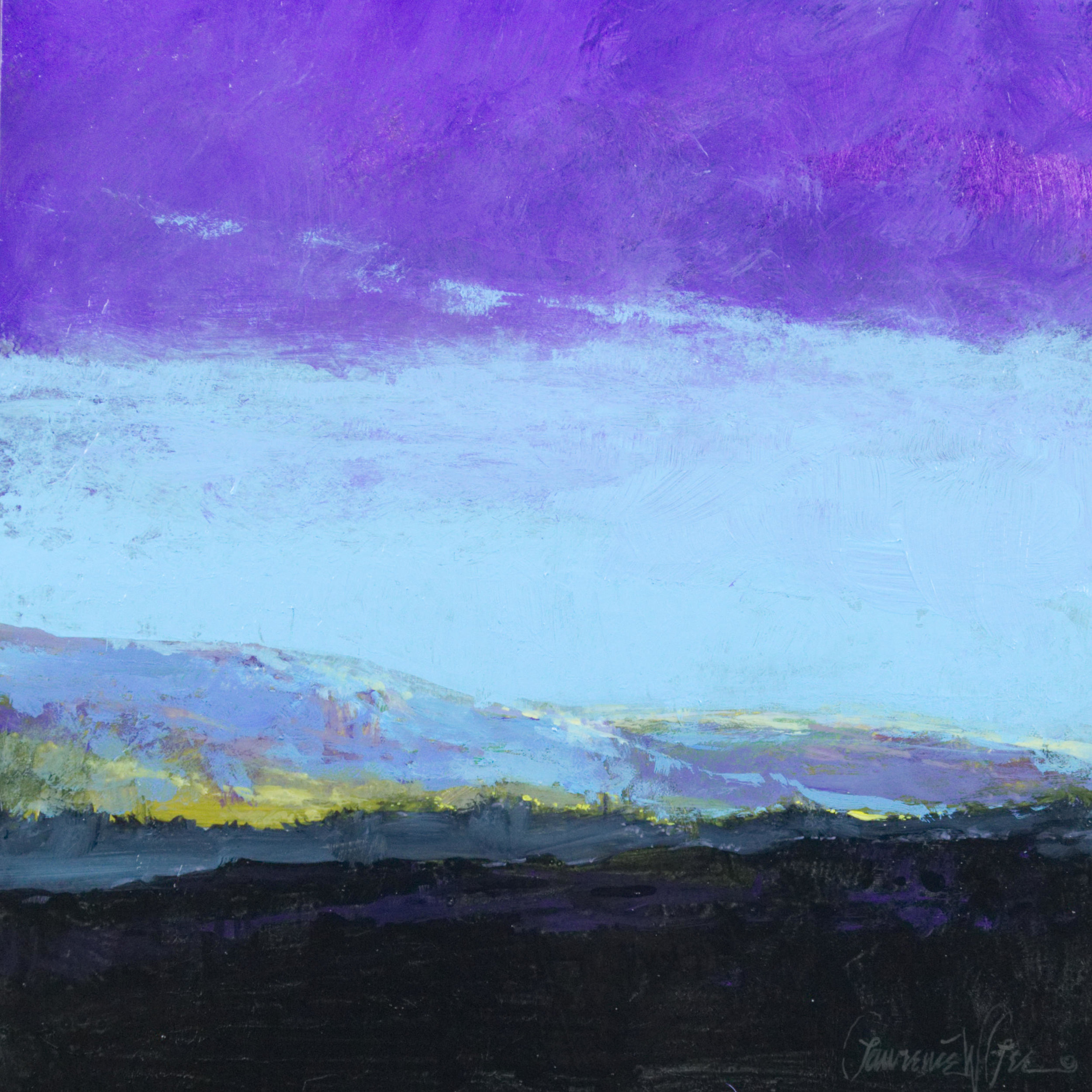 """""""Light In The Valley"""" 8""""x8"""" Acrylic on panel by Lawrence W. Lee"""
