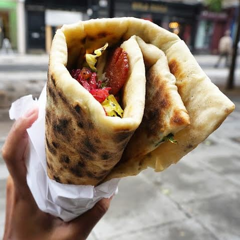 gozleme stuffed with spinach, cheese and spicy beef sausage - £5