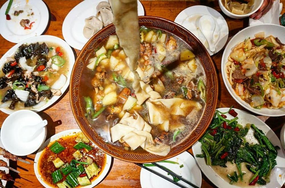 big bowl of Big Plate Chicken at Silk Road