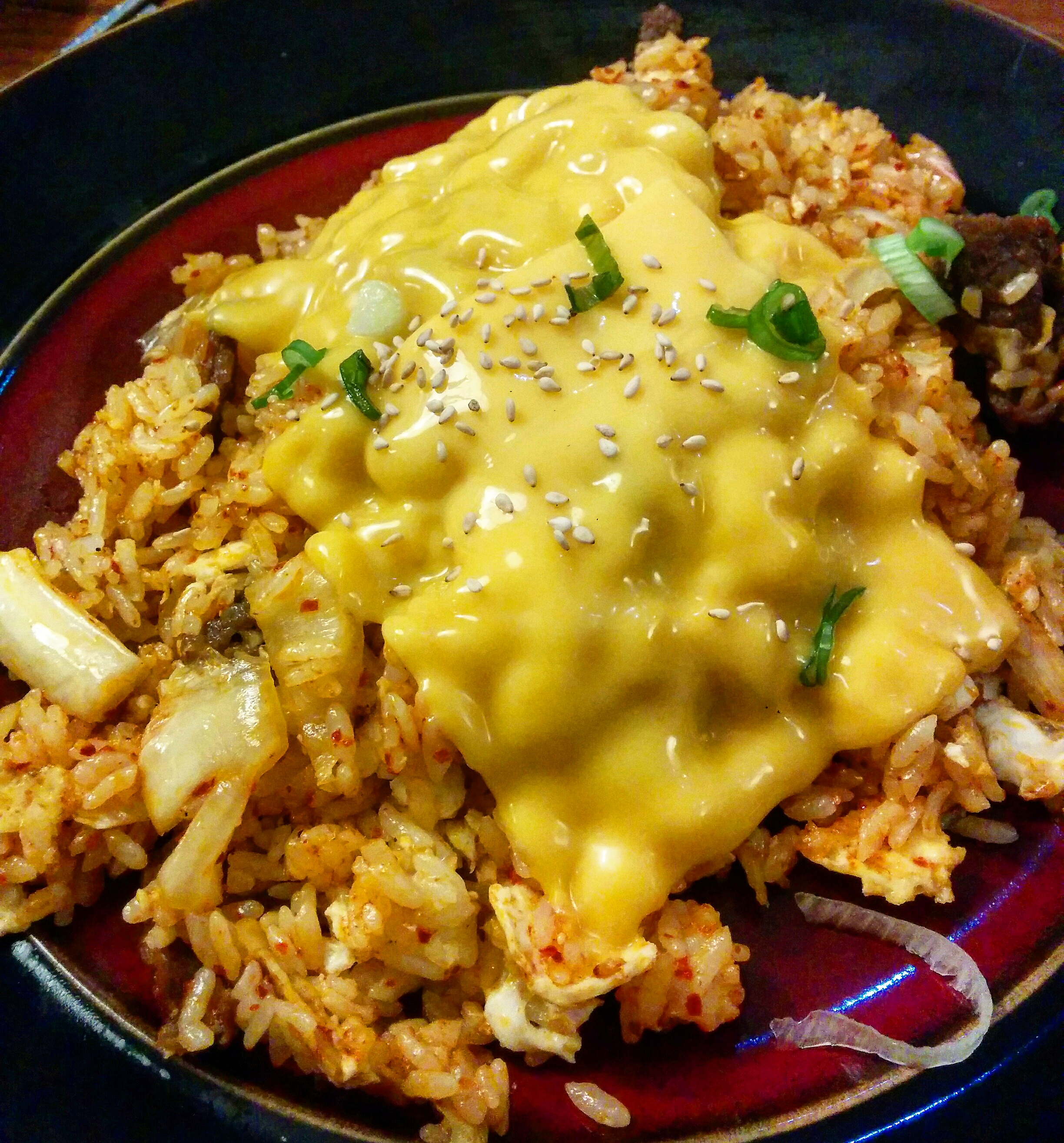 kimchi fried rice with beef and cheese from Seoul Bakery