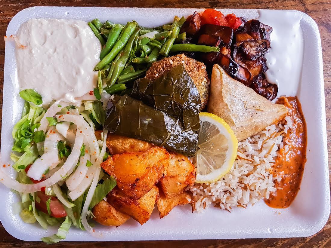 mixed mezze plate at Falafel & Shawarma, Camberwell