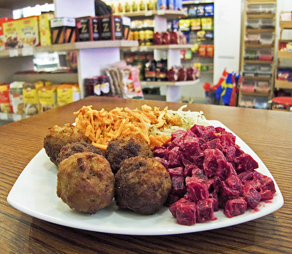 meatball platter with 3 salads, Scandinavian Kitchen