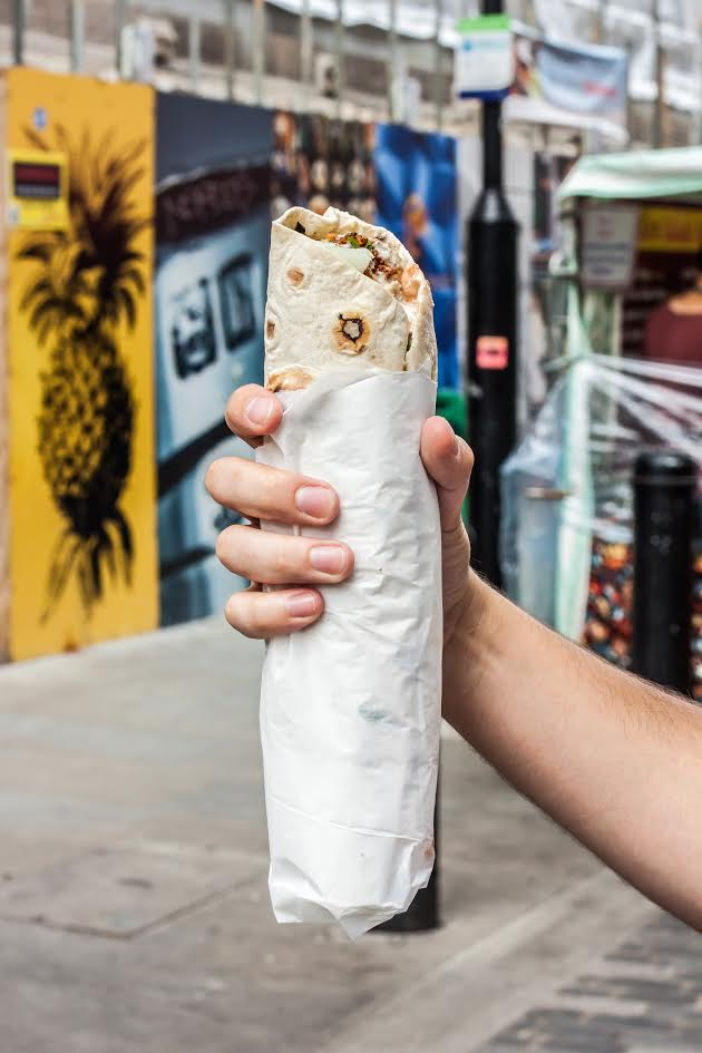 large falafel wrap from Jerusalem Falafel, Berwick Street Market