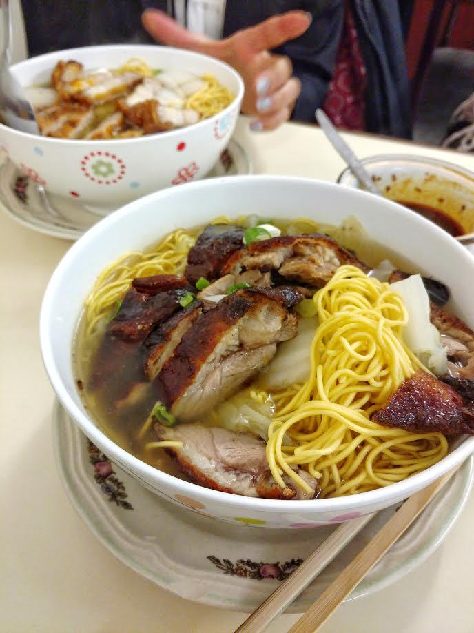 roast duck noodle soup (front), pork crackling noodle soup (back), Olympic Cafe in Waterloo