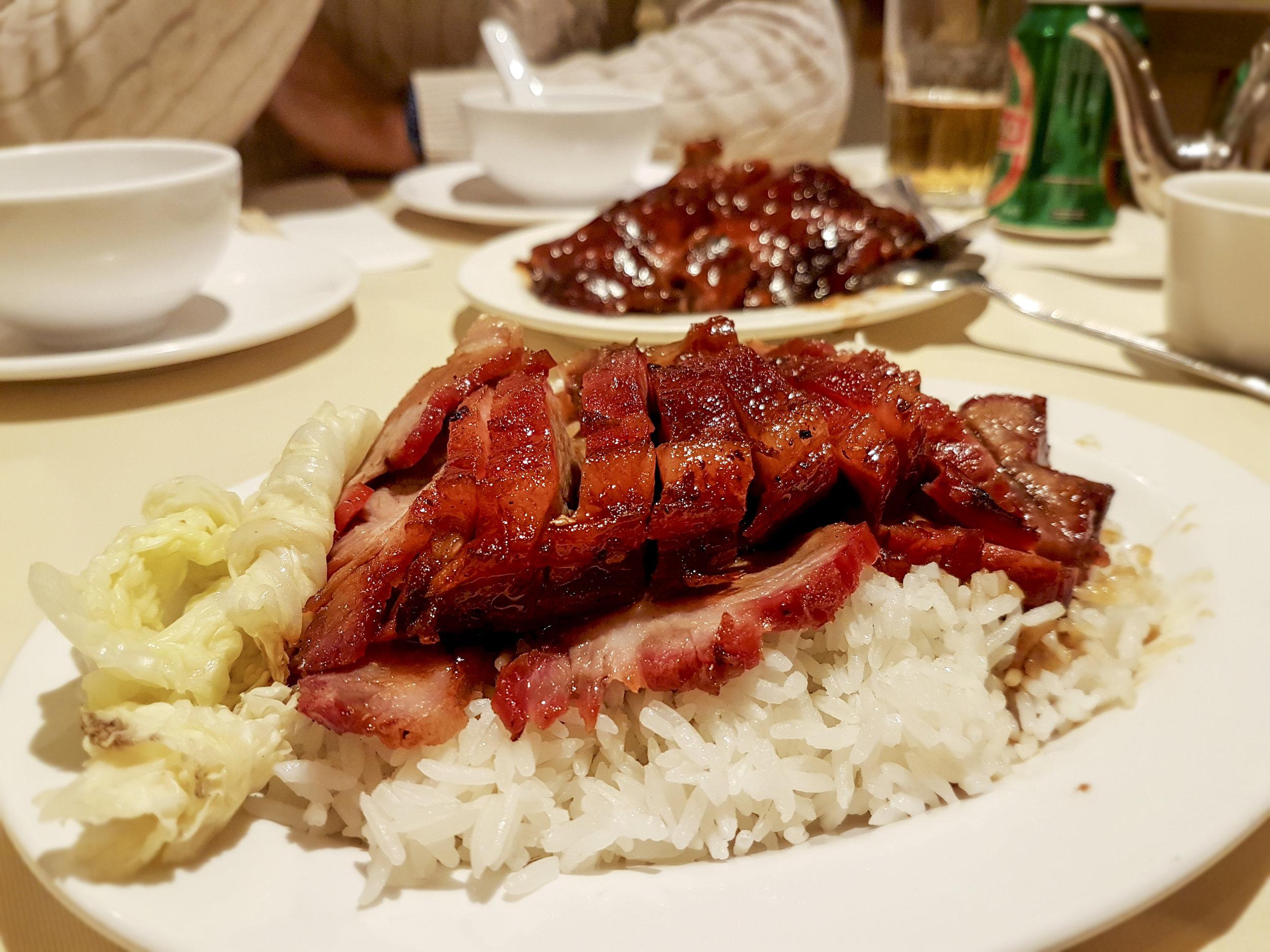 char siu pork on rice, Four Seasons Chinatown