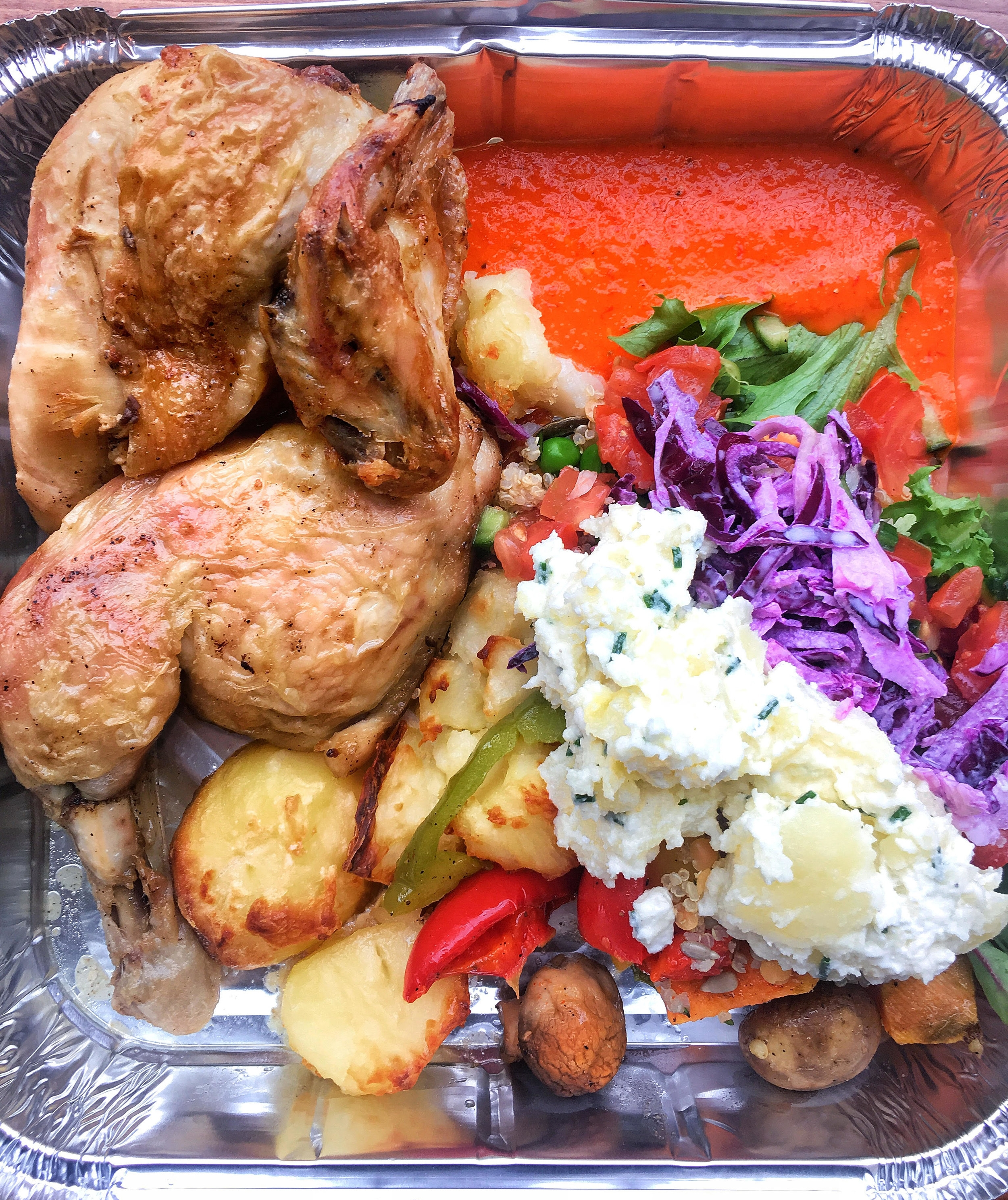 rotisserie chicken, salads and sides from Pull'd, Mansion House