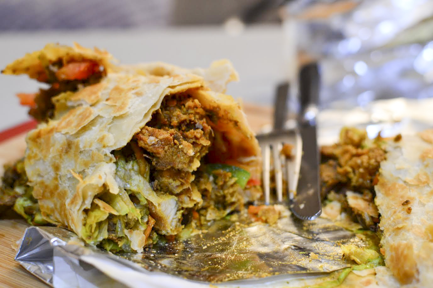 Paratha wrap with curries, Tifinbox in Aldgate