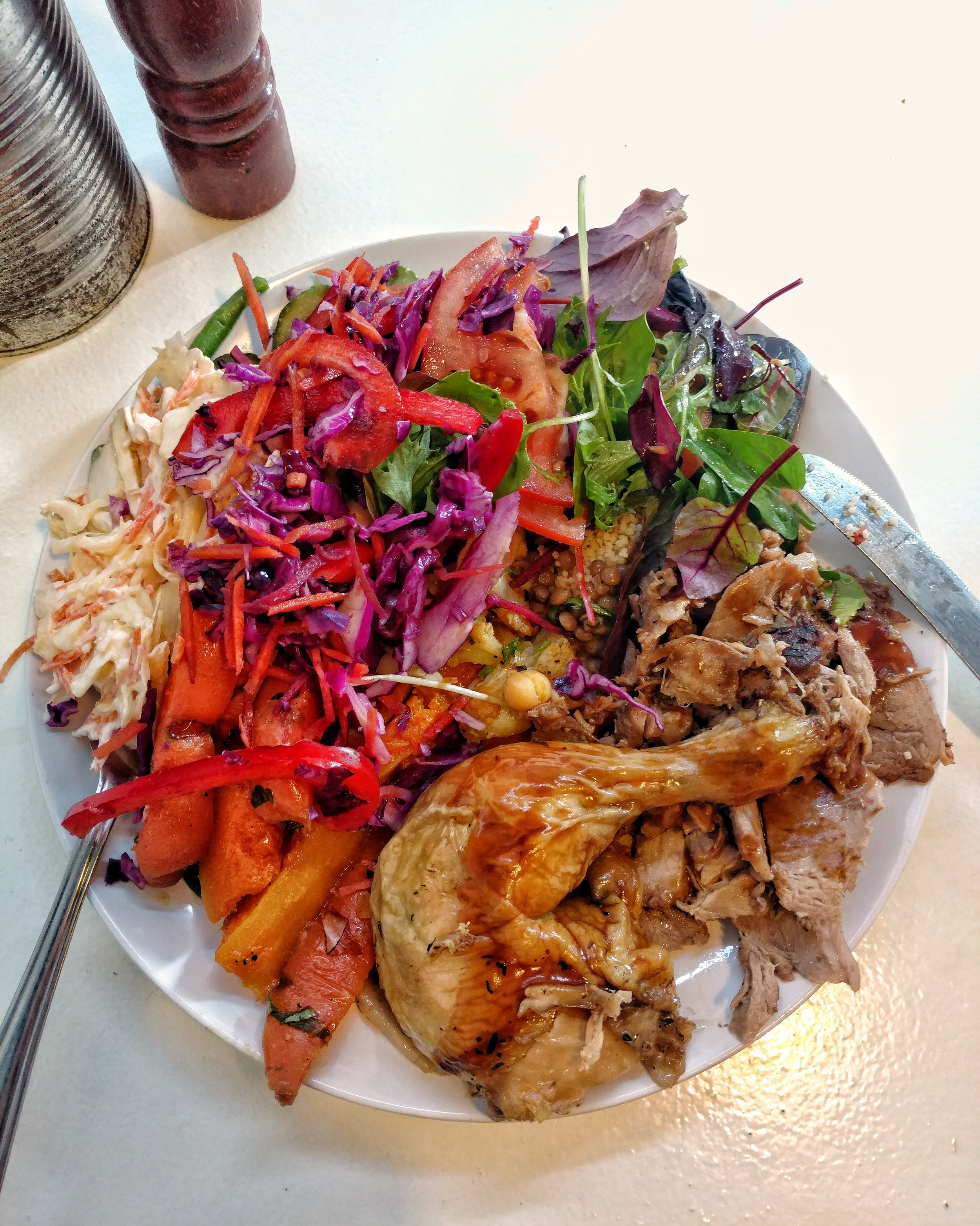 large plate of roast meats and salads, The Food Shop Kitchen