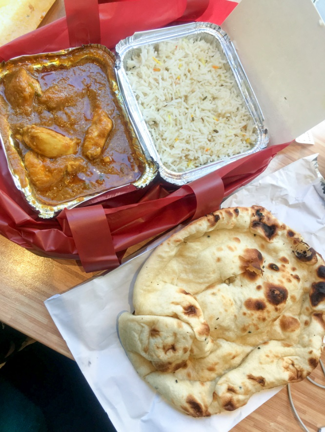 chicken curry with pilau rice and naan, Shad Indian Restaurant in London Bridge