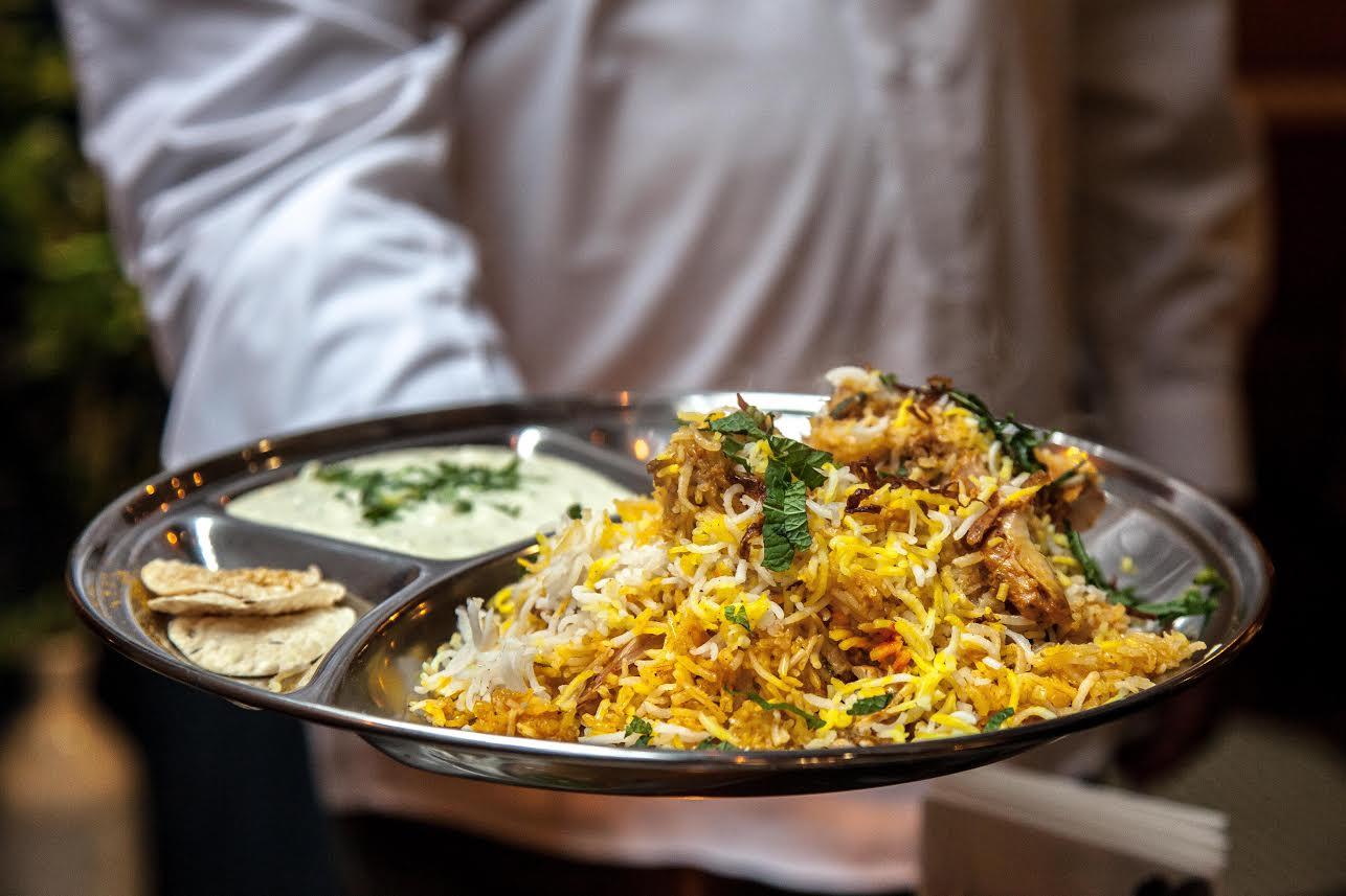 chicken biryani thali from DUM Biryani, Soho
