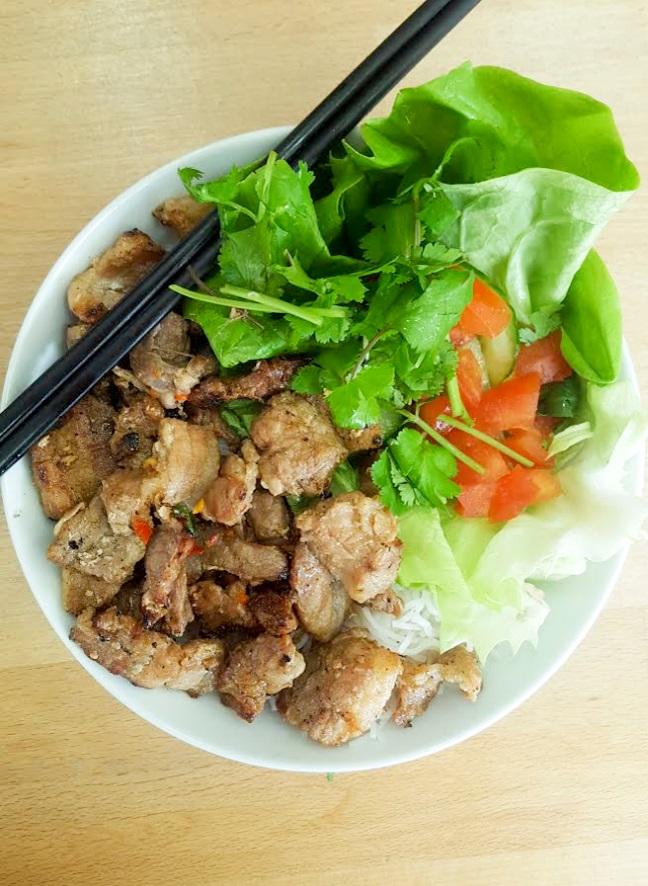 roast pork bun salad from Carrots + Daikon, Kentish Town