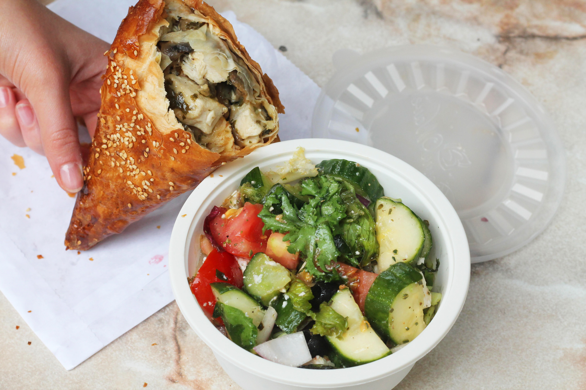savoury pastry and salad at Reynold's Cafe, Fitzrovia