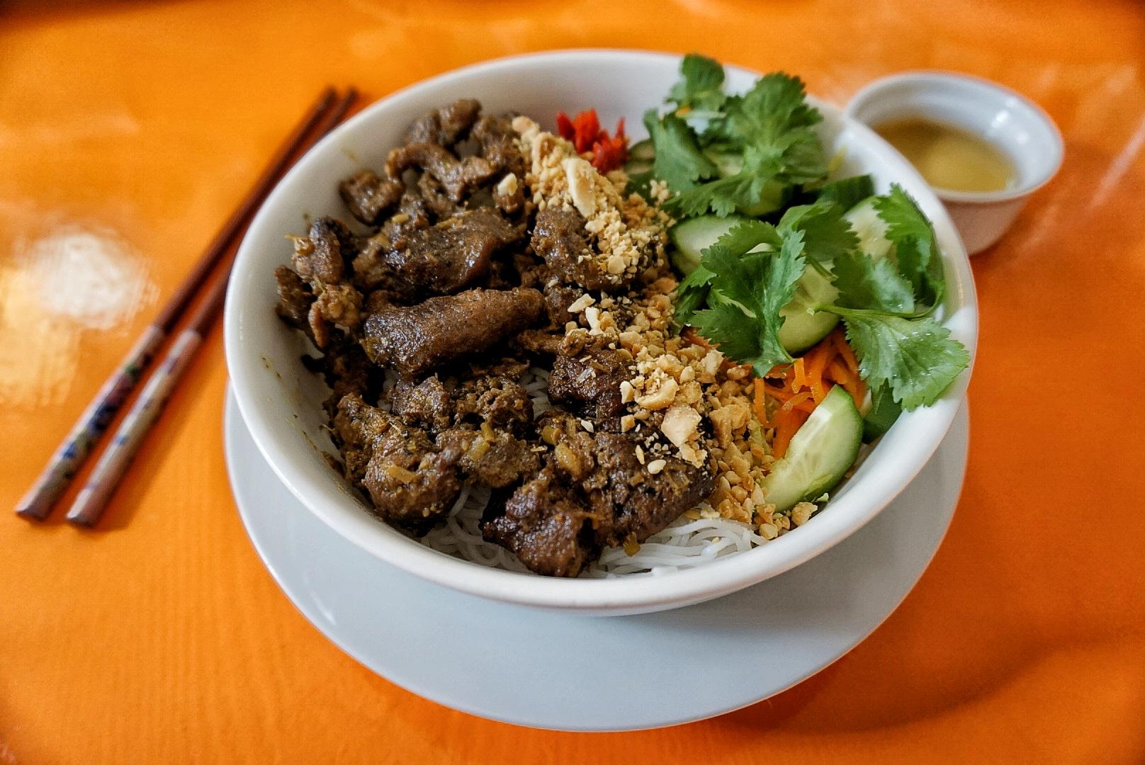 grilled pork belly noodles at Panda Panda