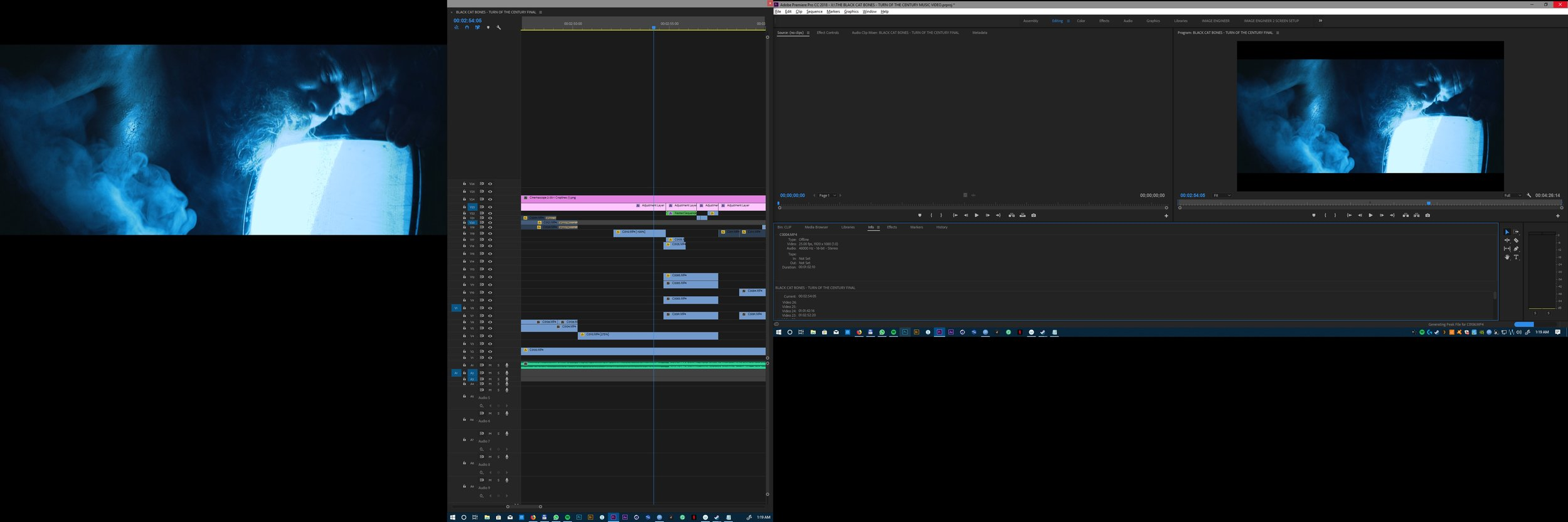 A screenshot of the editing process in Adobe Premiere CC 2018, spanned across three screens.