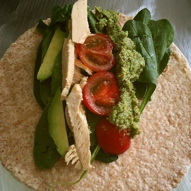 Chicken, Avocado, Spinach and tomato with pesto on whole-grain wrap