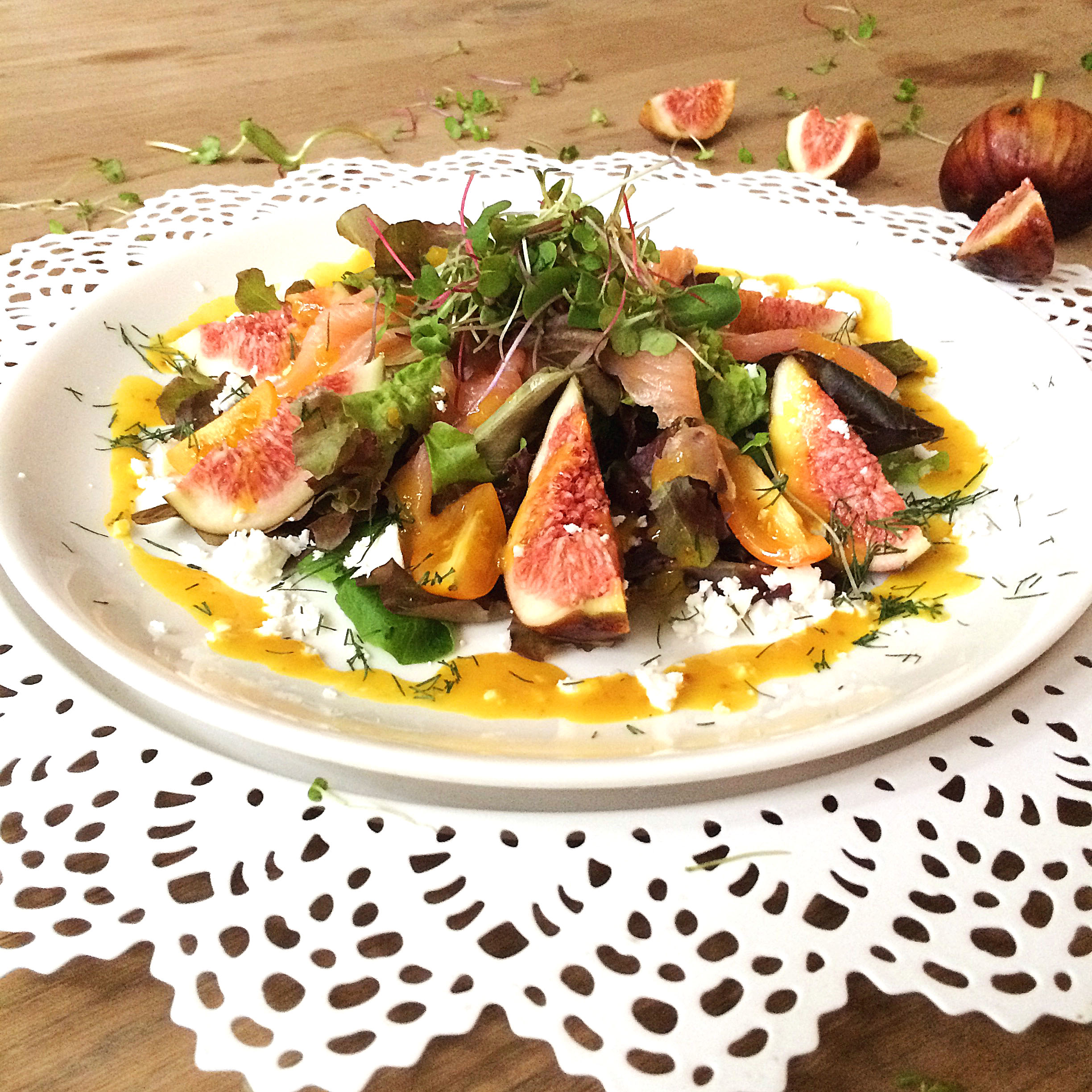 Fig and Goat Cheese Salad with a Mustard-Fig Dressing and Smoked Salmon - Shanghai Heat Special {Part 2} / via kitchen-impossible.net