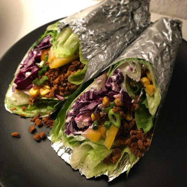 Easy Peasy Abendessen: #salatwraps mit Soja-Hack ☺️😋..