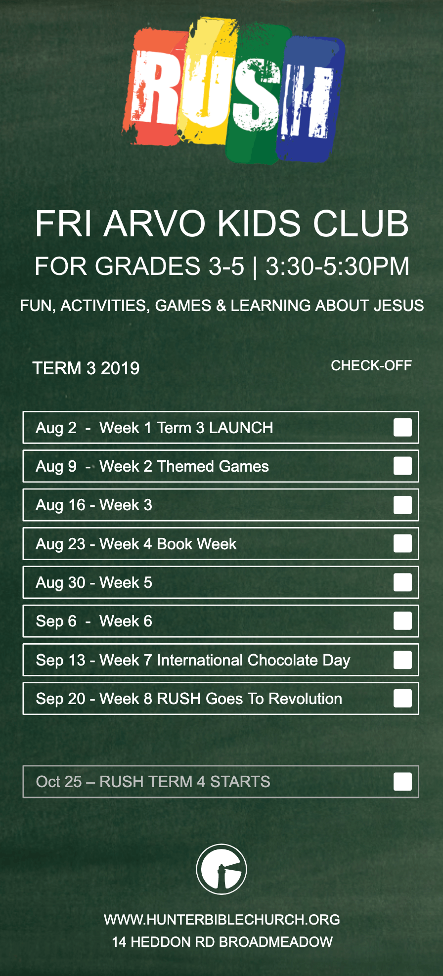 RUSH Term 3 Program 2019