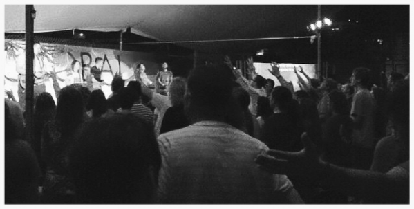 Deb helping lead a time of worship in Mexico.