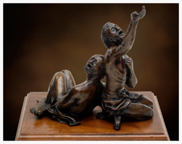 """""""MIdnight Song"""" - Paul and Silas in Prison.  Bronze sculpture. Source:  Tom White Studios."""
