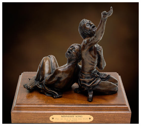"""MIdnight Song"" - Paul and Silas in Prison.  Bronze sculpture. Source:  Tom White Studios."