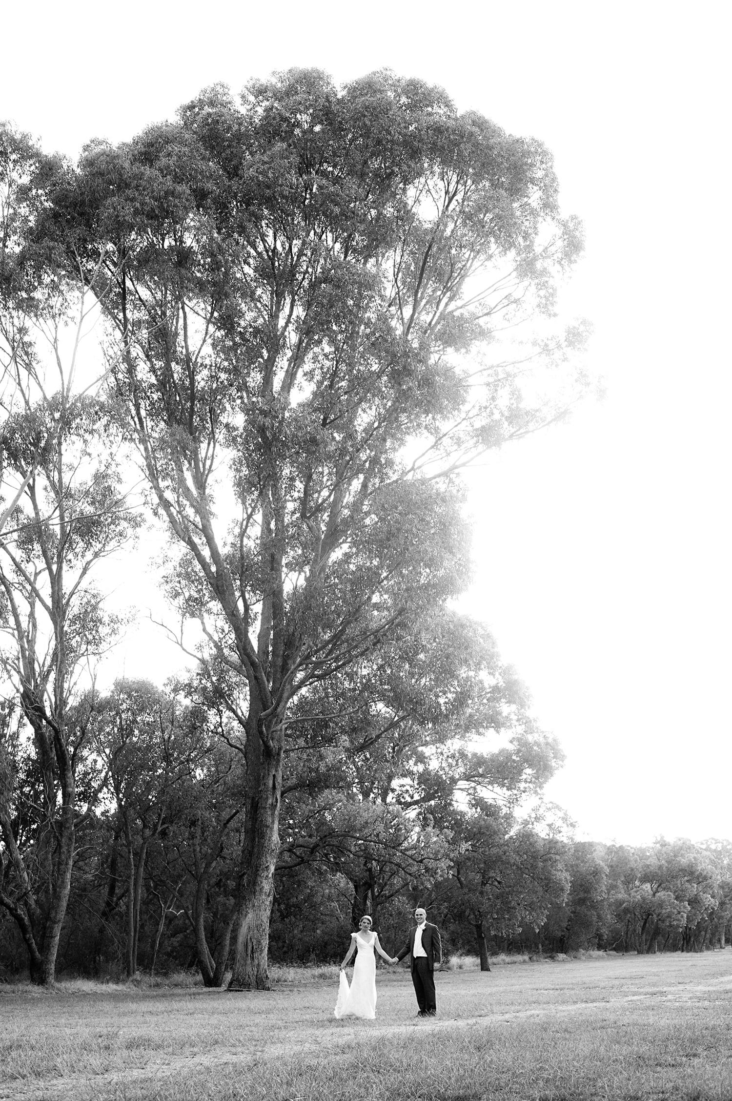 black and white wedding couple in australian bush