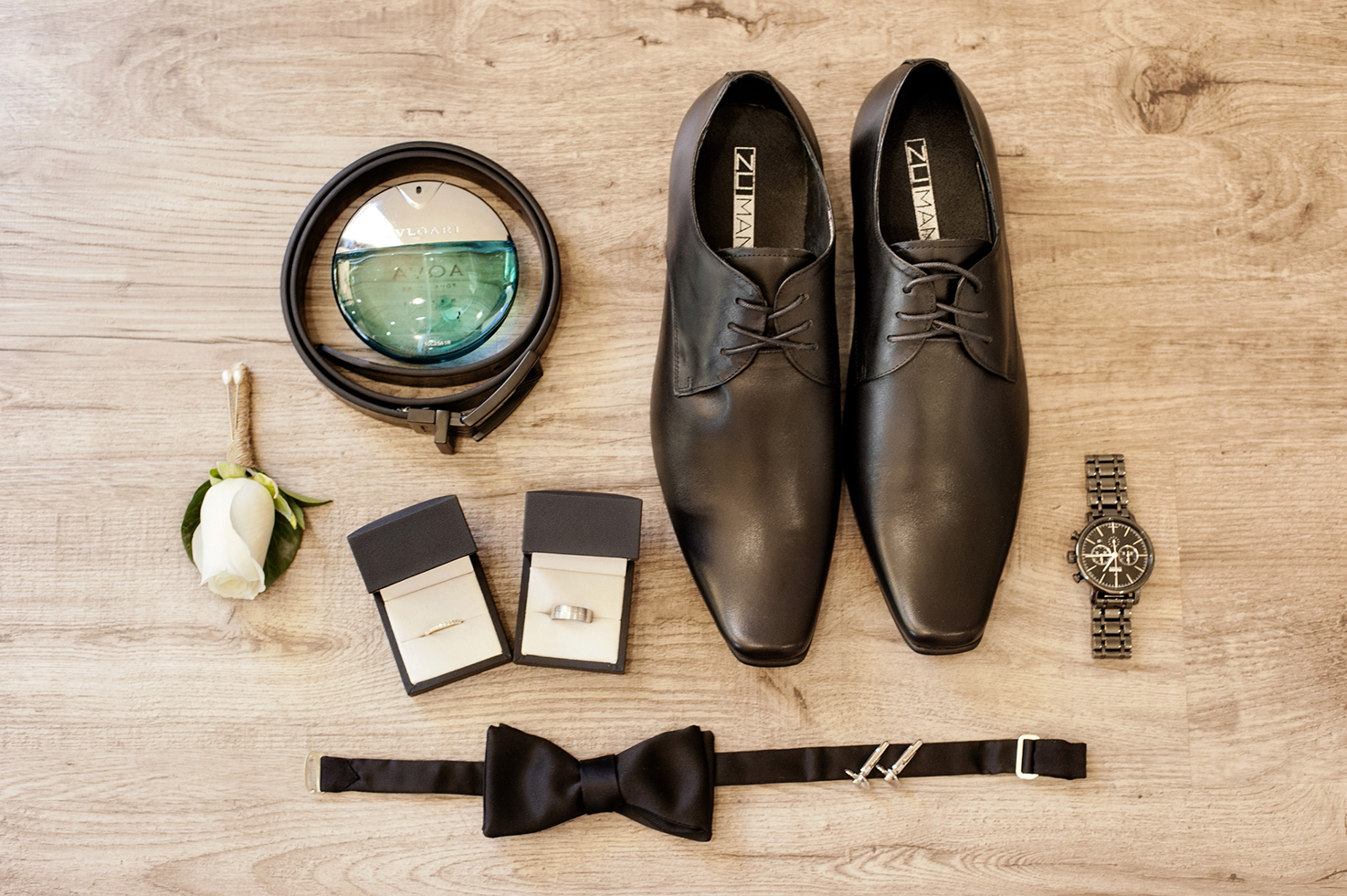 flat lay of grooms details perth wedding photography