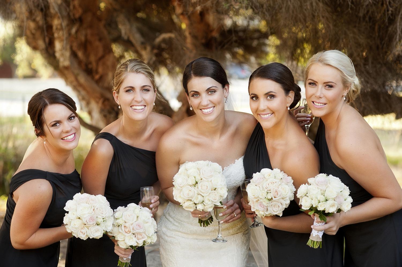 black bridesmaids dresses with white roses perth wedding