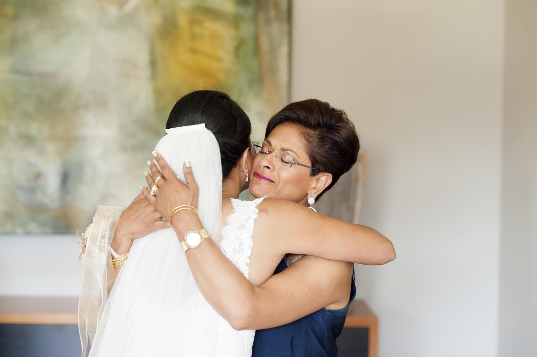 mum hugging bride perth wedding photography