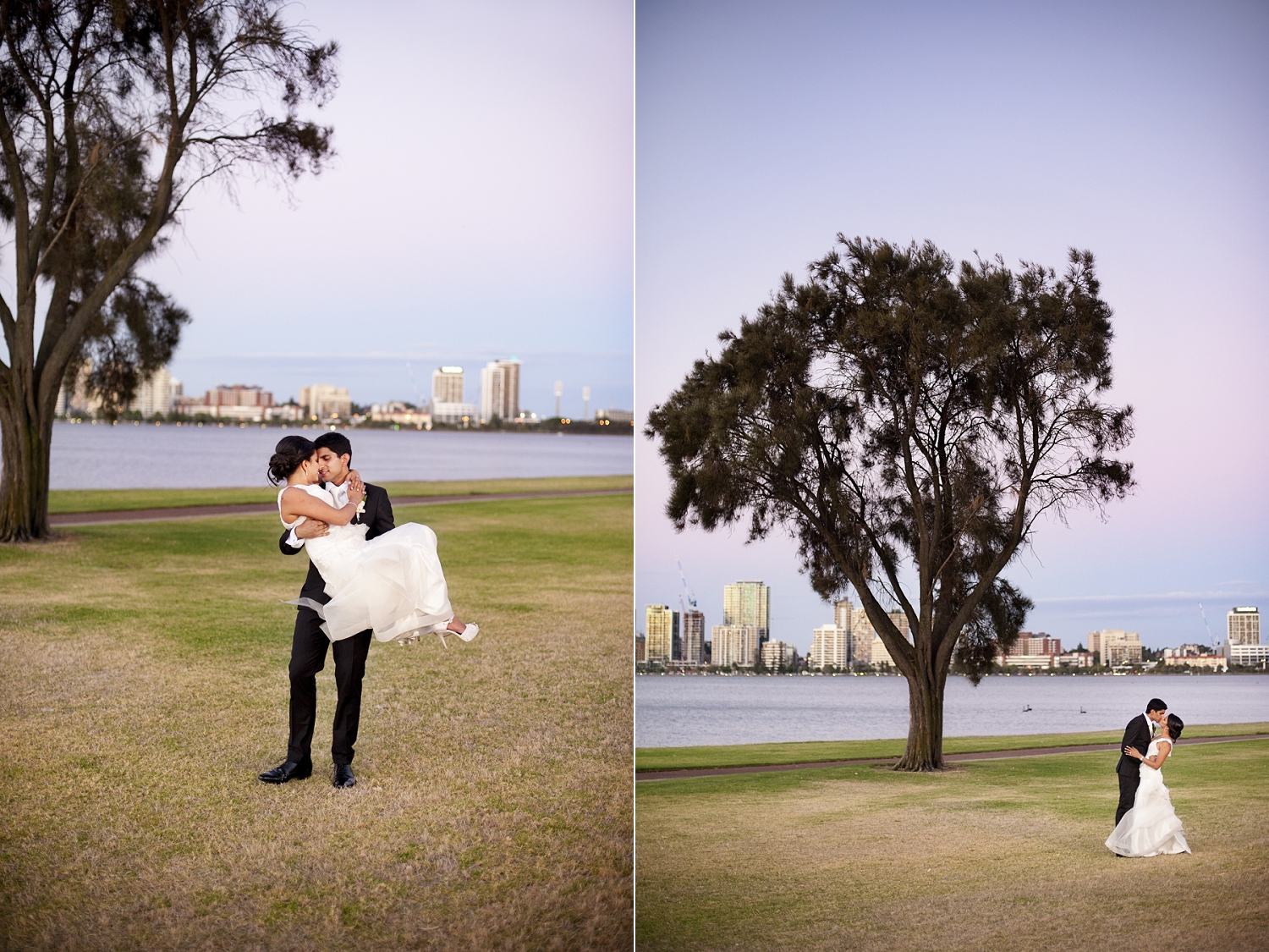wedding couple on swan river south perth foreshore