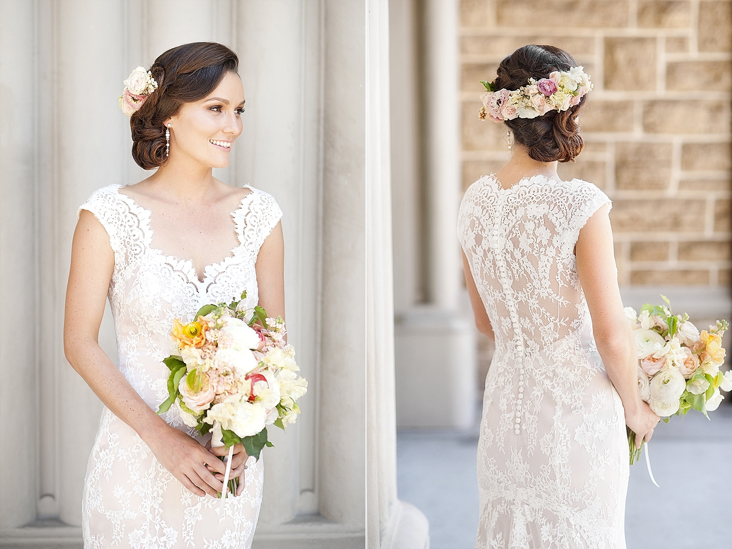 flower crown with matching bouquet perth wedding florist