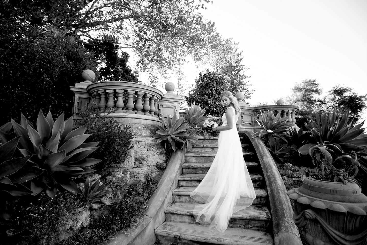 65_bride on stairs at cottesloe civic centre wedding perth.jpg