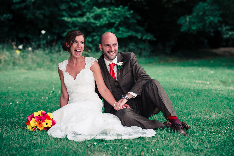 fun bride and grrom