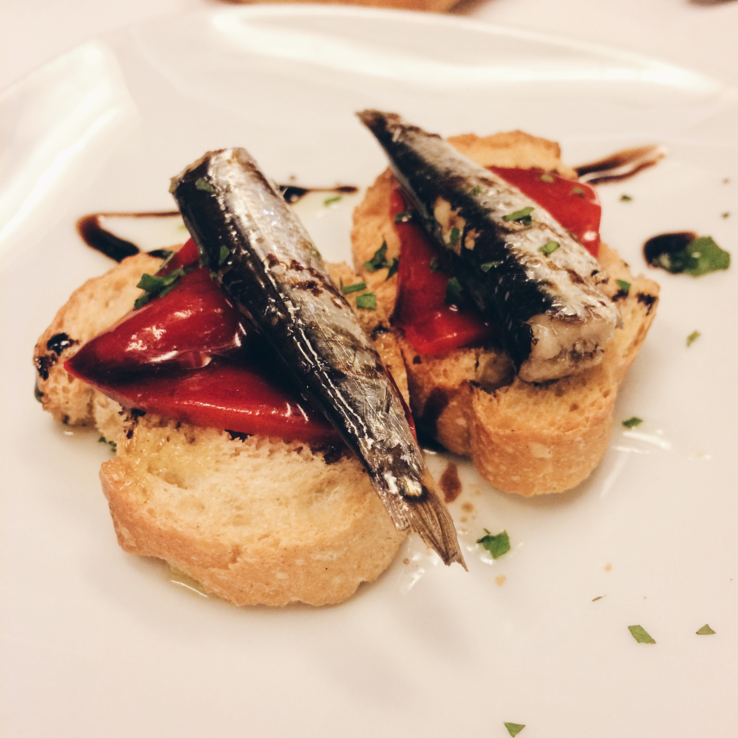 Sardines and red pepper at Cal Pep, Barcelona