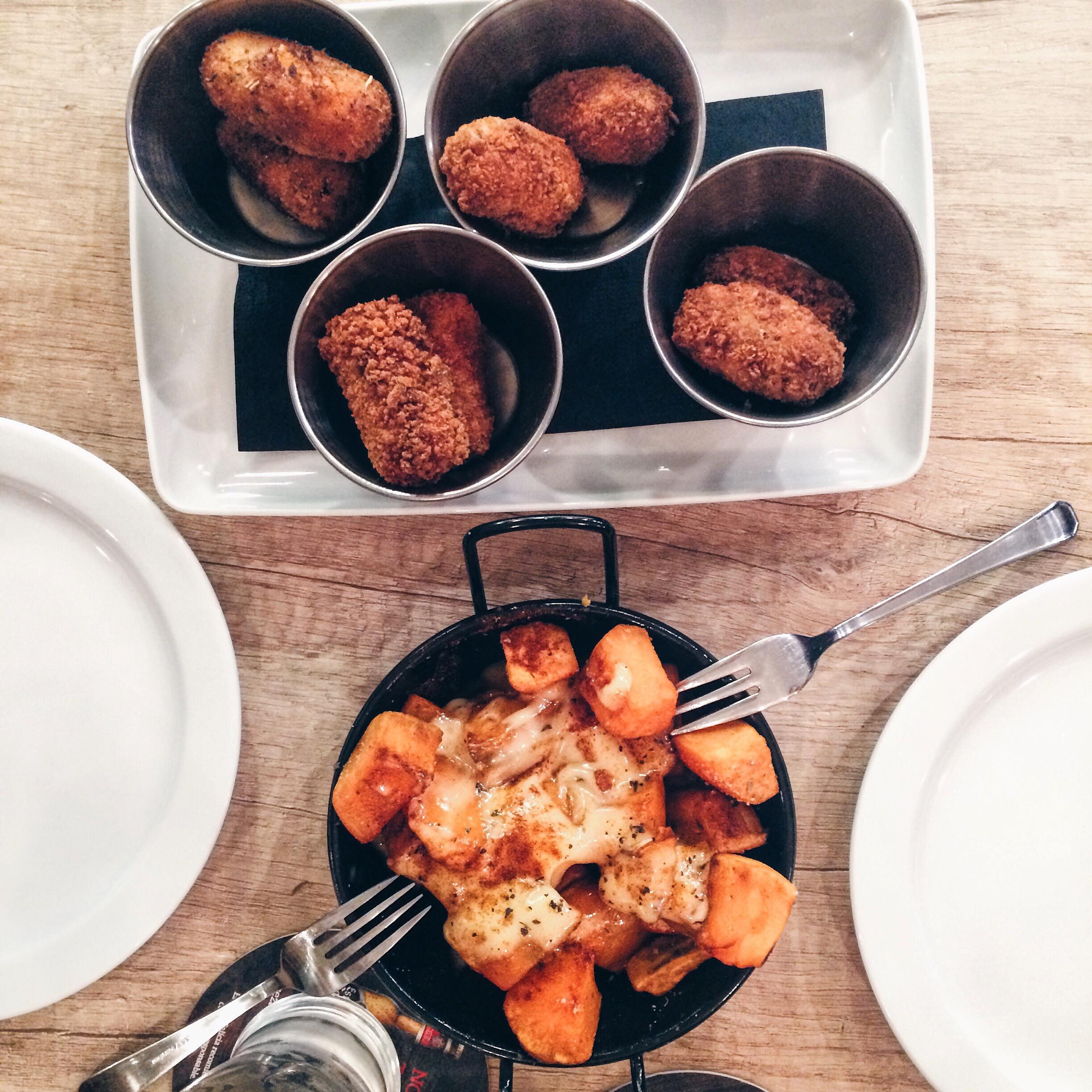 Sweet potato bravas and croquetas at Croq & Roll Barcelona