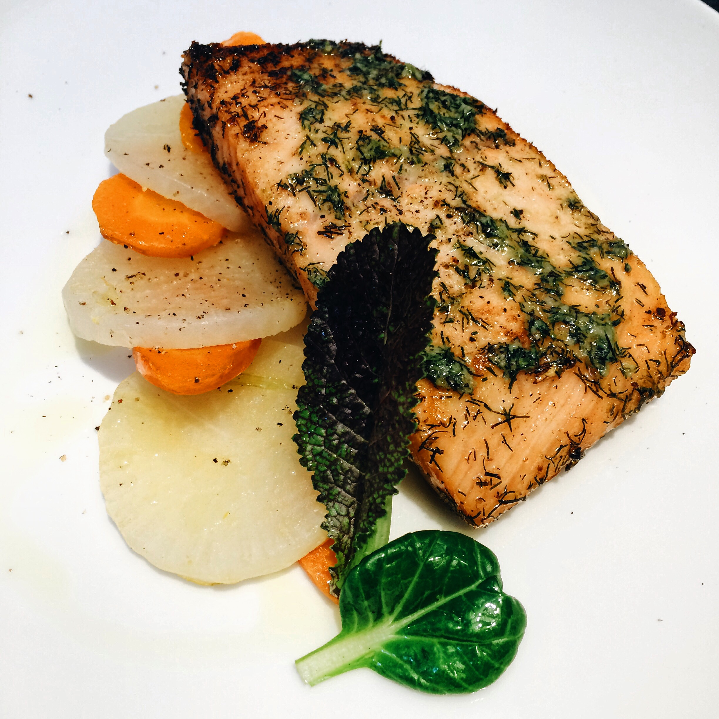 Salmon at L'Atelier Restaurant Barcelona
