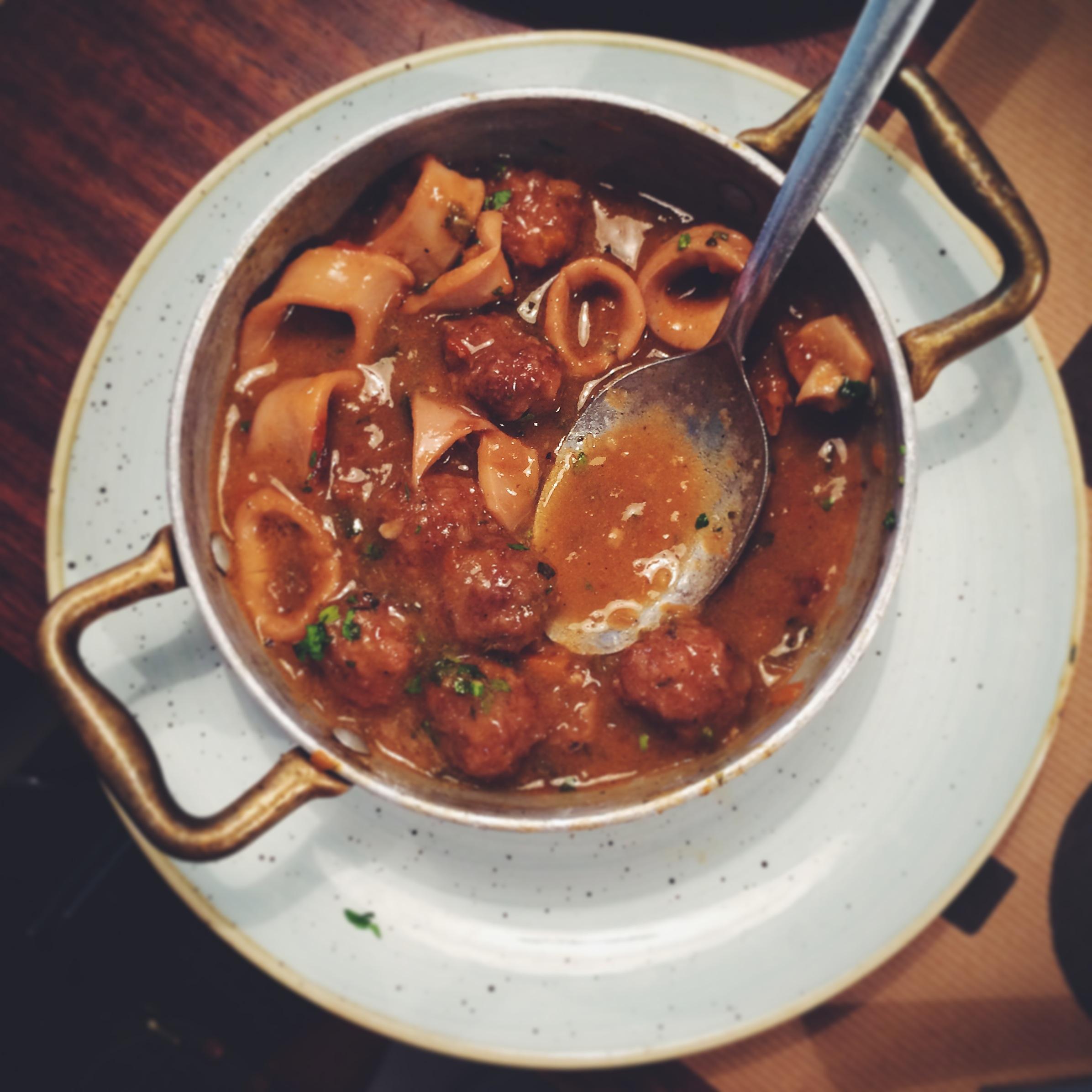 Meatballs with squid at Bar Lobo Barcelona