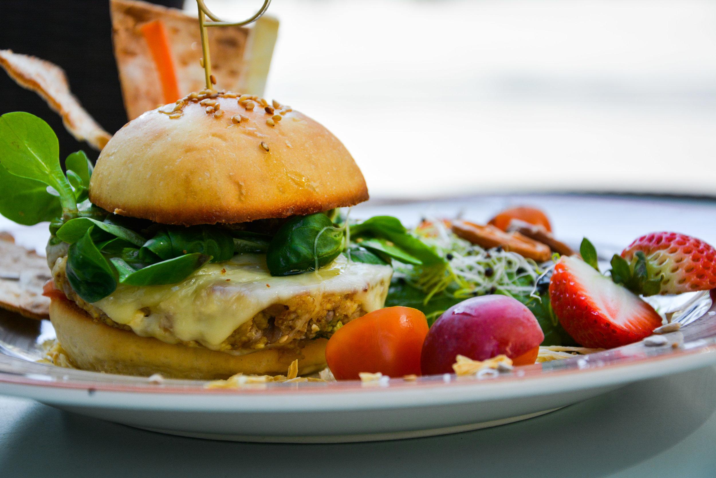 Vegetarian burger at Think Sweet