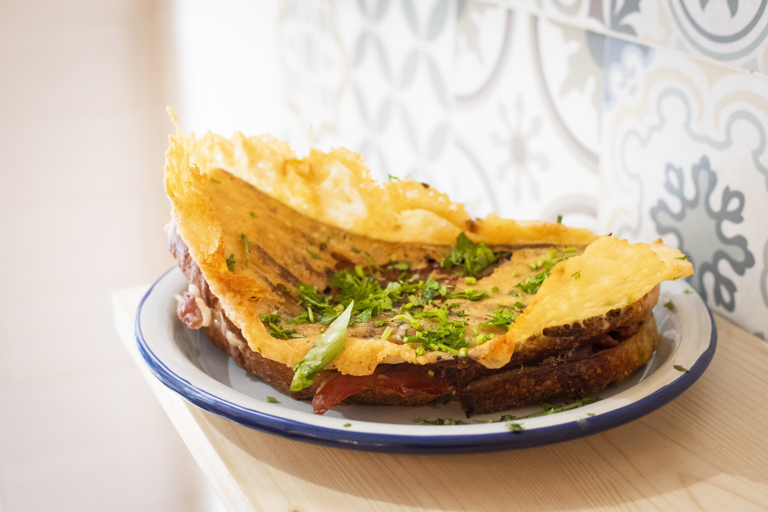 Grilled cheese sandwich at La Piña Bar, Barcelona