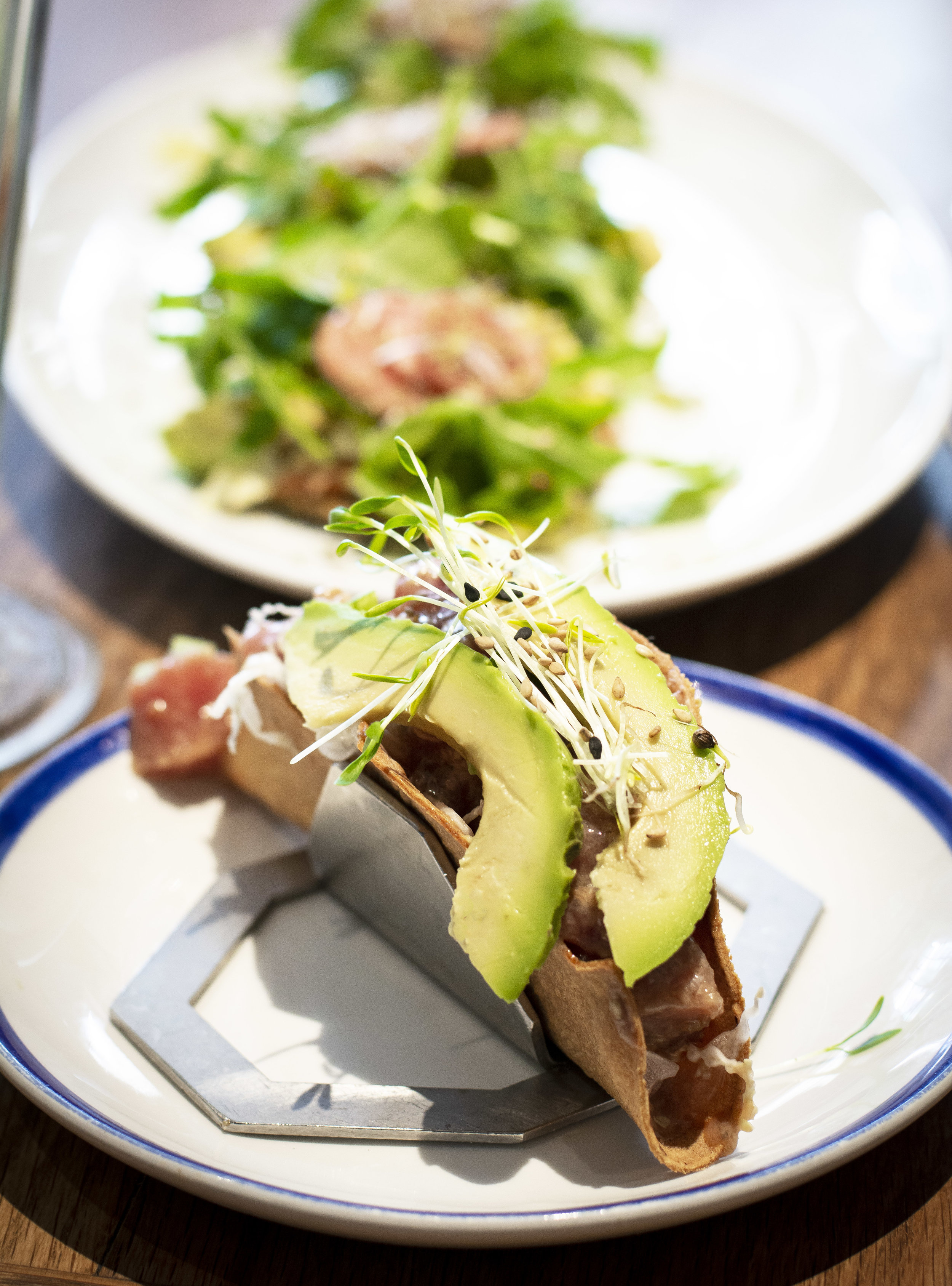 Crispy tuna tacos at Flax and Kale, Barcelona
