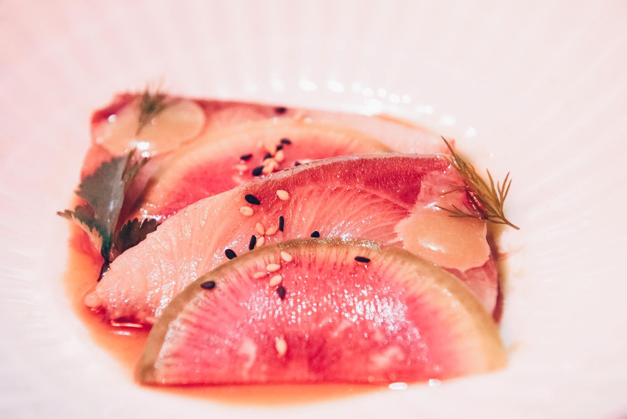Kingfish Sashimi, Flax & Kale Passage, Barcelona